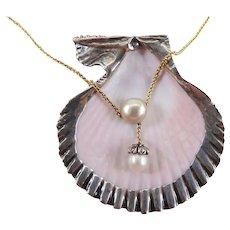 Antique Edwardian 14K Gold, Platinum, Pearl & Rose Cut Diamond Choker Necklace