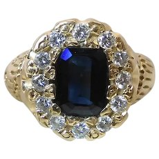 Antique 14K Yellow Gold .86 Carat Natural Peacock Blue Sapphire & Diamond Halo Cluster Ring