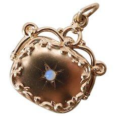 Antique Victorian 10K Rose Gold Opal Watch Fob / Pendant