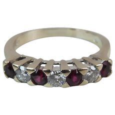 Vintage 18K White Gold 7 Stone .54 Carat Ruby .51 Carat Diamond Anniversary Ring
