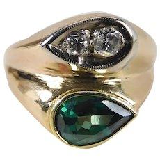 Vintage 14k Gold Green Spinel & Diamond Mid Century Modernist Ring