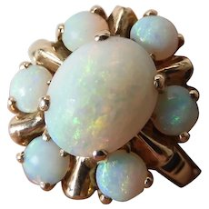 Mid-Century 10K Gold 2.79 Carat Opal Cluster/ Halo Ring By Hirsch & Oppenheimer