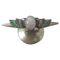 Antique Art Nouveau 935 Silver Plique-À-Jour Scarab Brooch / Pin With Icy Jade