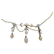 Graceful Edwardian 14K Gold White & Crystal Opal Garland Era Festoon Necklace