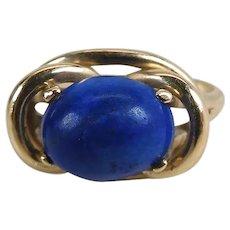 Vintage 14K Yellow Gold 2.8 Carat Lapis Lazuli Ring Size 7.5
