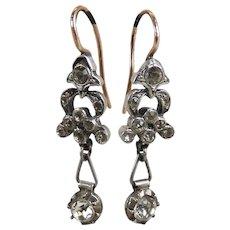 Antique Georgian Silver 14k Rose Gold & Paste Earrings