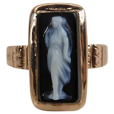 Antique Victorian 14k Rose Gold Full Figure Black & White Agate Cameo Ring Size 11
