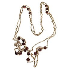Art Deco Era 50 Inch Long 14K Gold Caged Bohemian / Pyrope Garnet Rope Necklace