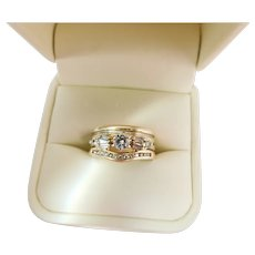 Vintage ArtCarved 3-Shank Stacked 14K Yellow Gold Mixed-Cut Diamond Wedding Set