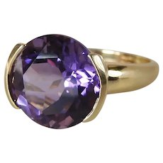 14K Yellow Gold 6 Carat Round Amethyst Solitaire Cocktail Ring
