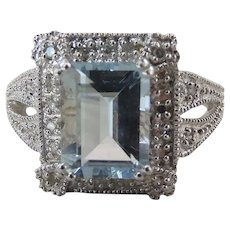 14k White Gold 2.14 Carat Emerald Cut Aquamarine & Diamond Cocktail Ring