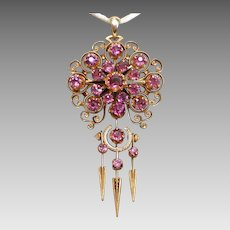 Victorian Rhodolite Garnet & 18K Pendant / Brooch