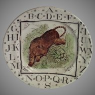 ABC T Is For Tiger Child's Plate, C. 1882