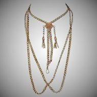 """Magnificent 14K Victorian Belcher  Chain With Slide,   67 Grams, 65"""" Long"""