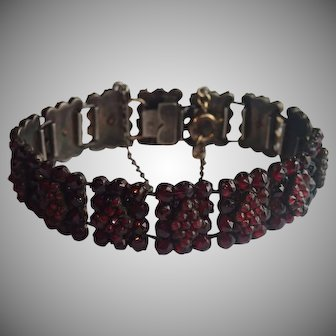 Garnet Bracelet ; Antique Czech , Circa 1890