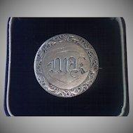 Love Token Pin , American Liberty Half Dollar , C. 1853 , Initials MK