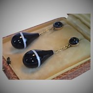 Victorian Banded  Agate & 15CT Drop-Style Earrings