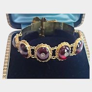 Victorian Buckle Bracelet, 14K, Carbuncle Garnets & Rose-Cut Diamonds
