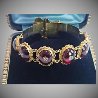 Victorian Buckle Bracelet, 14K, Carbuncle Garnets & Rose-Cut Diamonds
