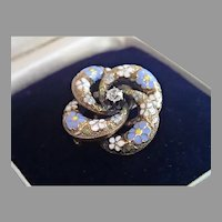 Victorian Love-Knot Pin / Pendant , 14K , Enamel &  Diamond