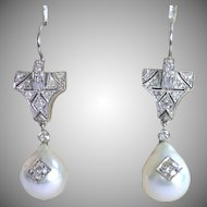 Art Deco Earrings ,Platinum , Cultured Pearls & Diamonds, 1CT Plus