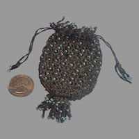 Reticule Doll Purse , Metallic Thread & Glass 'Turquoise' Beads, French 19th Century