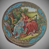 Silver Vermeil  & Enamel Compact , Vintage  Italian Early 20th Century