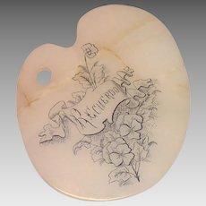 Antique Agate Souvenir Plaque  , ' RECUERDO' ,  Spanish Late 19th Century