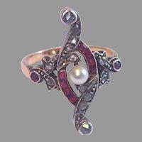 Edwardian Ring; Rose-Cut Diamonds , Natural Rubies & Pearl Set In 18K