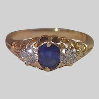 Sapphire & Diamond Ring In 18CT , Antique , C. 1890