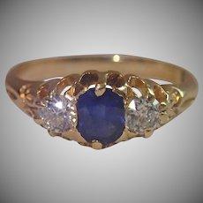 Antique Sapphire & Diamond Ring In 18CT