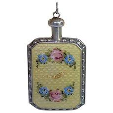 Sterling & Guilloche Enamel Perfume Flask Pendant