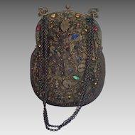 French Purse , 'Jeweled' With Beads & Metallic Thread , Circa 1880