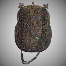 French Purse , 'Jeweled' With Beads & Metallic Thread , Circa 1880