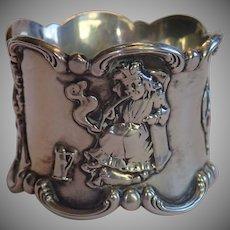 Art Nouveau Sterling  Napkin Ring , Gorham ' Old King Cole '