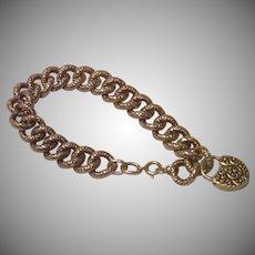 Antique Sterling Silver Repousse Padlock Bracelet