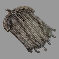 French Antique Silver Coin Purse
