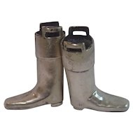 Antique Silverplate Knitting Needle Boots , English C. 1907