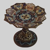 French, Antique Champleve Enamel Petite Pedestal Dish