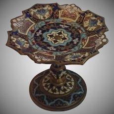 Antique Champleve Enamel Petite Pedestal Dish
