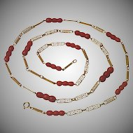 Vintage 18K & Carved Coral Necklace
