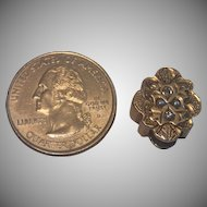Victorian Slide ; 14K , Diamonds & Natural Pearls , 7.1 Grams