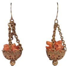 Vintage Branch Coral & Gilded Metal Earrings With 14K Wires