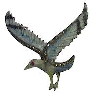 Enamel & 800 Silver Bird Pin With Marcasites
