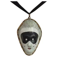 Antique Patch Box, Masquerade Motif , ...... Rare !