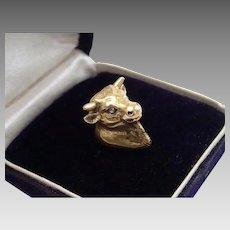 Antique Fob / Pendant ; 14k Bull With Diamond Eyes & Bloodstone Seal