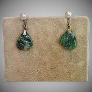 Vintage Jade & Cultured Pearl Earrings In 10K