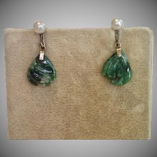 Vintage Jade & Cultured Pearl Earrings In 10K