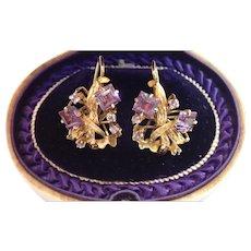 Vintage 14K & Violet Gemstone Earrings