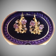 Vintage 14K & Violet Gemstone Earrings